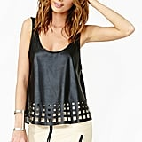 Yes, you can still wear leather in the Summer (in small doses, anyway). We love this Nasty Gal Geo Cutout Tank ($38) for a night out, especially when worn with a pair of silk shorts or printed pants.