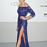 Nina Dobrev's sapphire Elie Saab also featured a leg-baring slit.