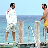 Jude Law went swimming off the dock of Club 55 in the South of France