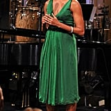 This gorgeous green dress was designed by Stevie Wonder's wife, Kai Milla.