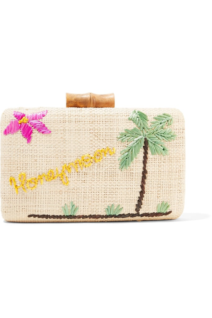 Kayu Embroidered Woven Raffia Clutch