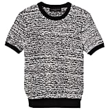 Black and White Short Sleeve Sweater Knit Top ($28)
