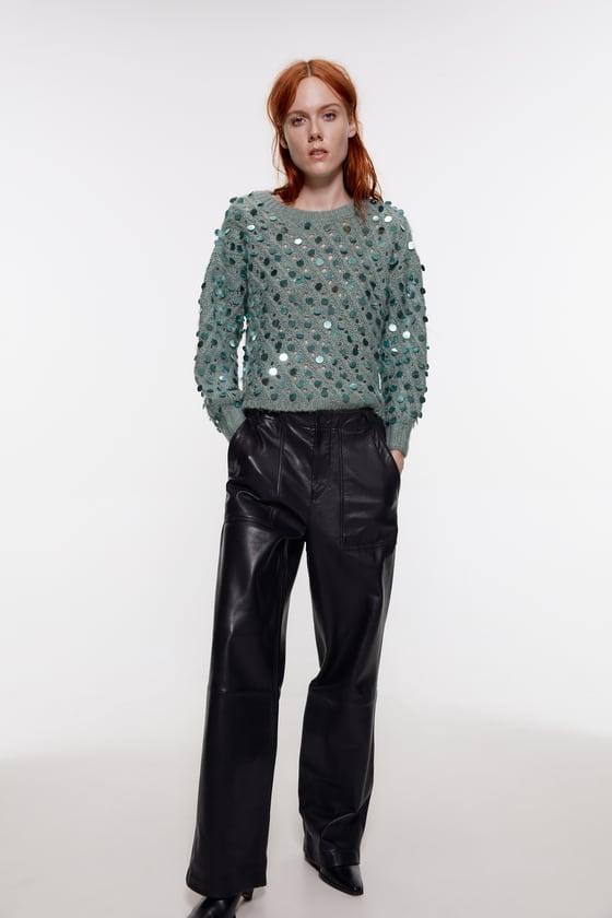 Zara Textured Sequin Sweater