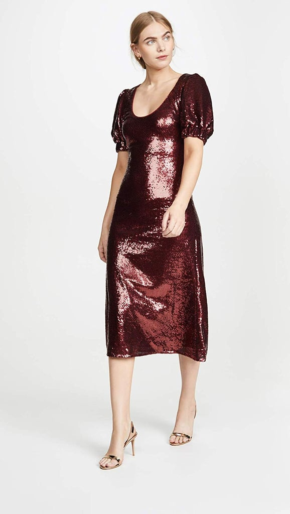 Keepsake The Label Farewell Puff-Sleeve Sequin Midi Dress