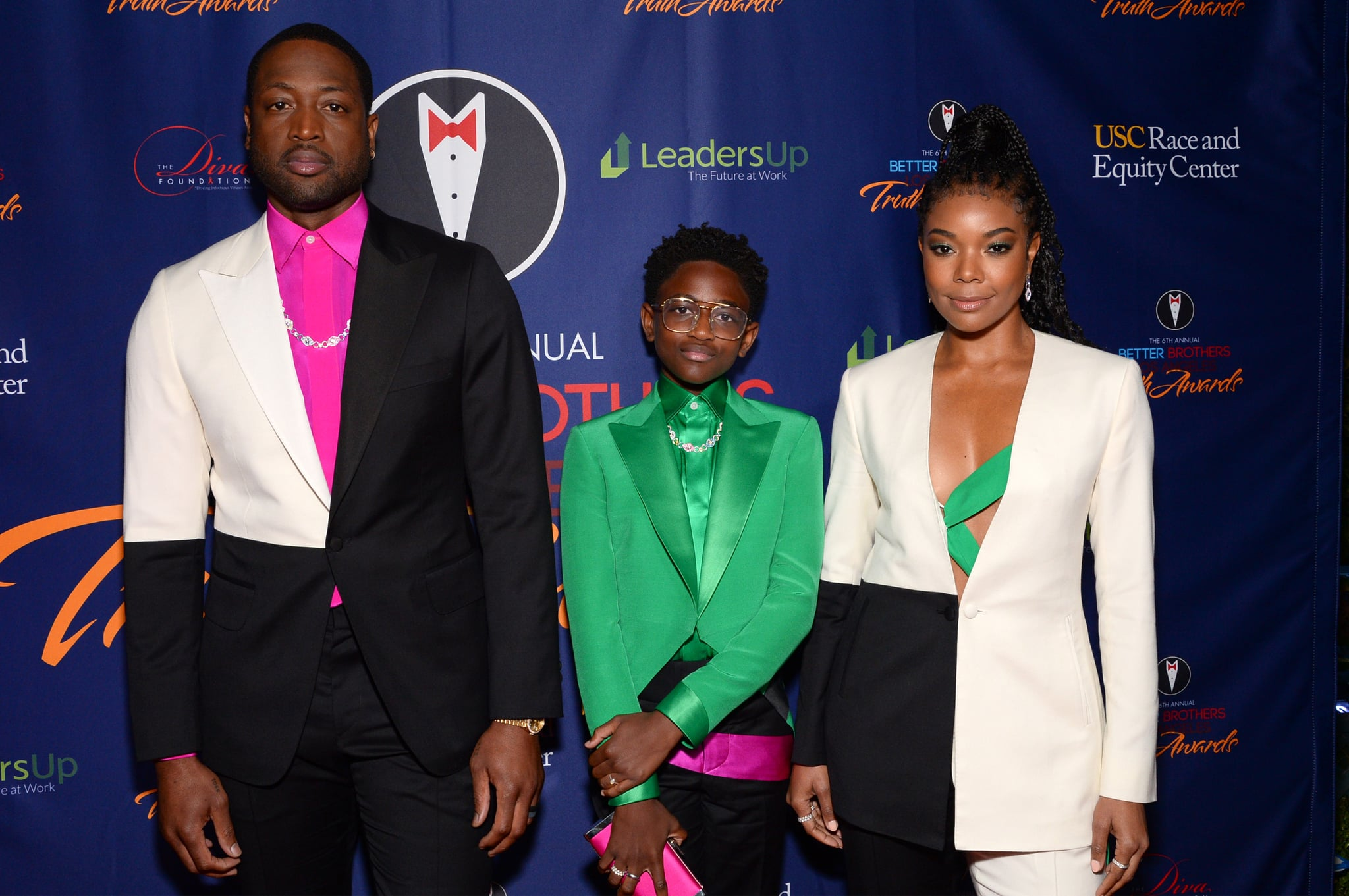 LOS ANGELES, CALIFORNIA - MARCH 07: (L-R) Dwyane Wade, Zaya Wade and Gabrielle Union attend the Better Brothers Los Angeles' 6th annual Truth Awards at Taglyan Complex on March 07, 2020 in Los Angeles, California. (Photo by Andrew Toth/Getty Images)