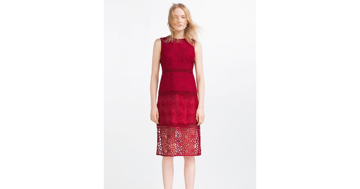 f21942dee9b96 Zara Contrast Embroidered Dress With Lace ($100) | Best Wedding Guest  Dresses For Spring and Summer | POPSUGAR Fashion Middle East Photo 22