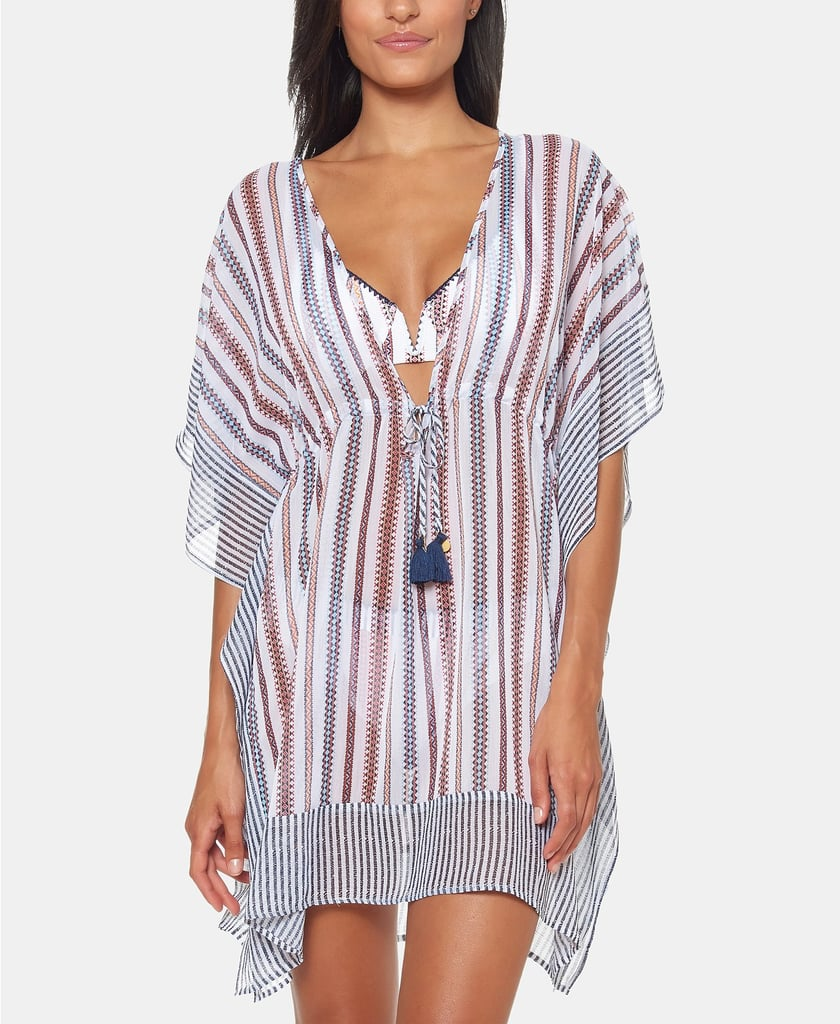 629e07182 Jessica Simpson Striped Chiffon Border Cover Up With Tassels | Best ...