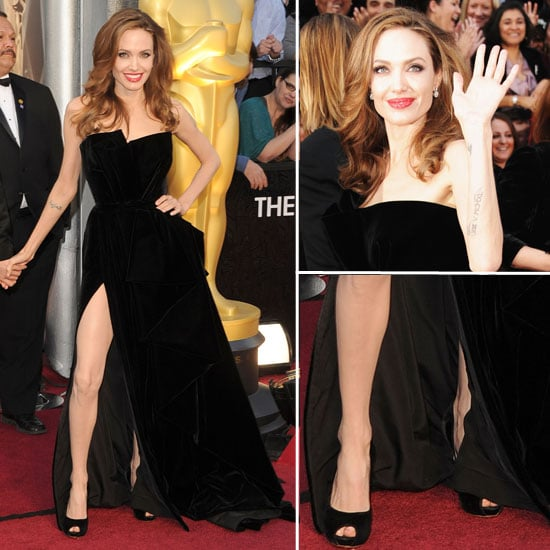 Pictures of Angelina Jolie in Sexy Split Atelier Versace Black Gown at the 2012 Oscars: Like It?