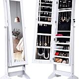 Langria Lockable Jewellery Cabinet Standing Jewellery Armoire Organiser With Mirror