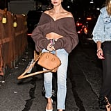 Hailey Baldwin Wore an Off-the-Shoulder Crop Top and Jeans