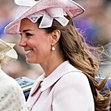 A closer look at Kate's hat reveals pretty lace and bows.