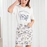 & Other Stories Safari Print Denim Mini Skirt