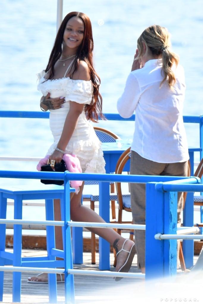 Rihanna White Dress on Holiday in Italy 2019