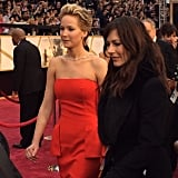 We spotted Jennifer Lawrence in her vibrant red gown!