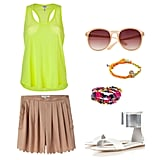Don't feel like jumping in the pool? Keep cool with a light, albeit bright, ensemble. We couldn't help but gravitate toward a silky scalloped short and neon-hued semisheer tank top combination. It's eye-catching but in a totally playful way. You can have more fun with your accessories, especially since you don't have to worry about taking them off. A generous stack of bold friendship bracelets and a metallic sandal will round out this colorful look. Get the look:   Splendid Neon Yellow Vintage Whisper Racerback Top ($95)  Opening Ceremony Pleated Scallop Short ($294, originally $420)  Indego AfricaTM For J.Crew Friendship Bracelet ($23)  Blee Inara Swarovski Skull Macrame Adjustable Bracelet ($45)  Mango Round Sunglasses ($20, originally $25)  Fortune Metal Cuff Sandals ($96)