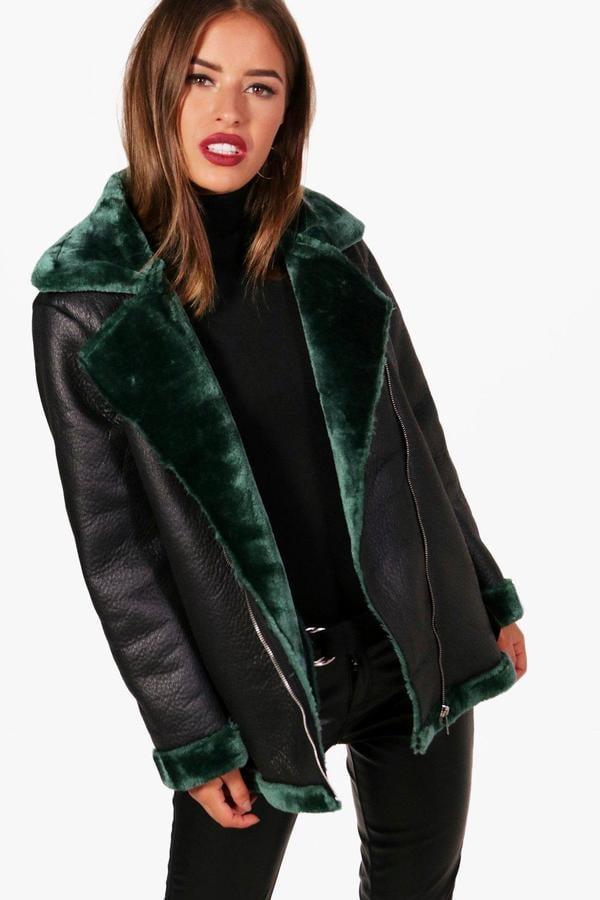c00a70c7bbf Boohoo Petite Georgina Faux Fur Lined Luxe Aviator Coat   Best Coats ...