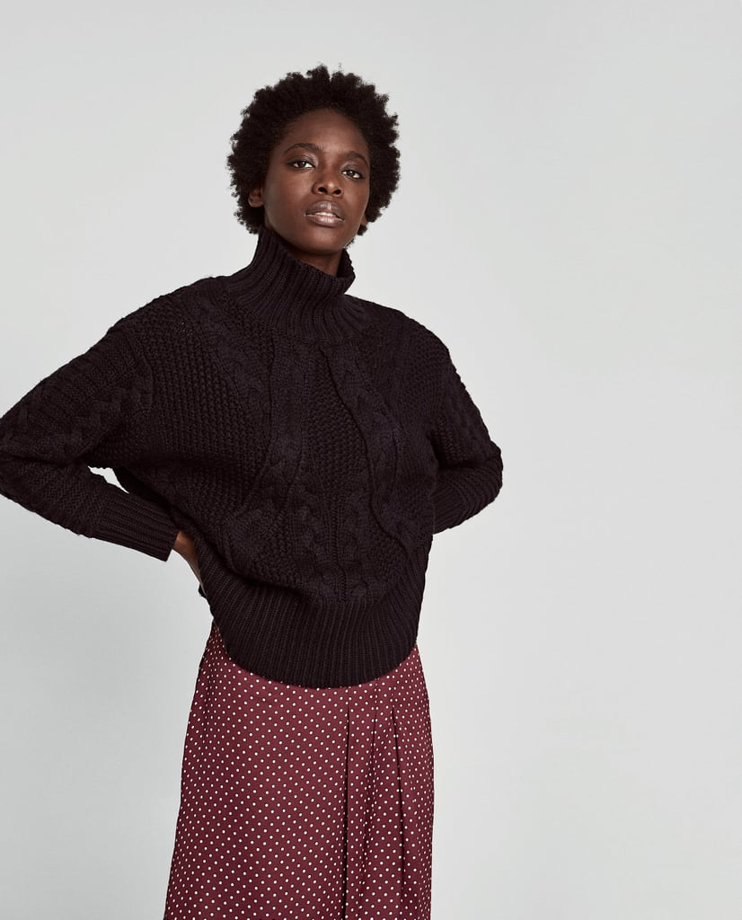 Zara Cable Knit Sweater With High Collar