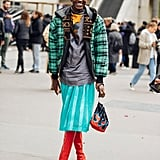 Winter Outfit Idea: A Plaid Coat and Colorful Skirt