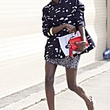 A leggy look in mismatched prints.