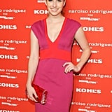 Emma Roberts wore a bright pink and orange dress for Narciso Rodriguez's Kohl's collection launch party in NYC.