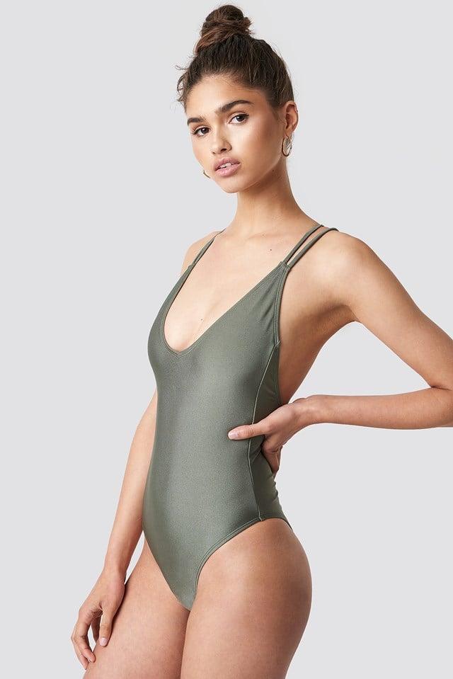 Na-Kd Shiny Double Cross Strap Swimsuit