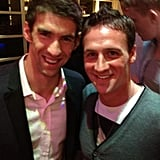 Michael Phelps and Ryan Lochte posed for a photo. Source: Twitter user eswright