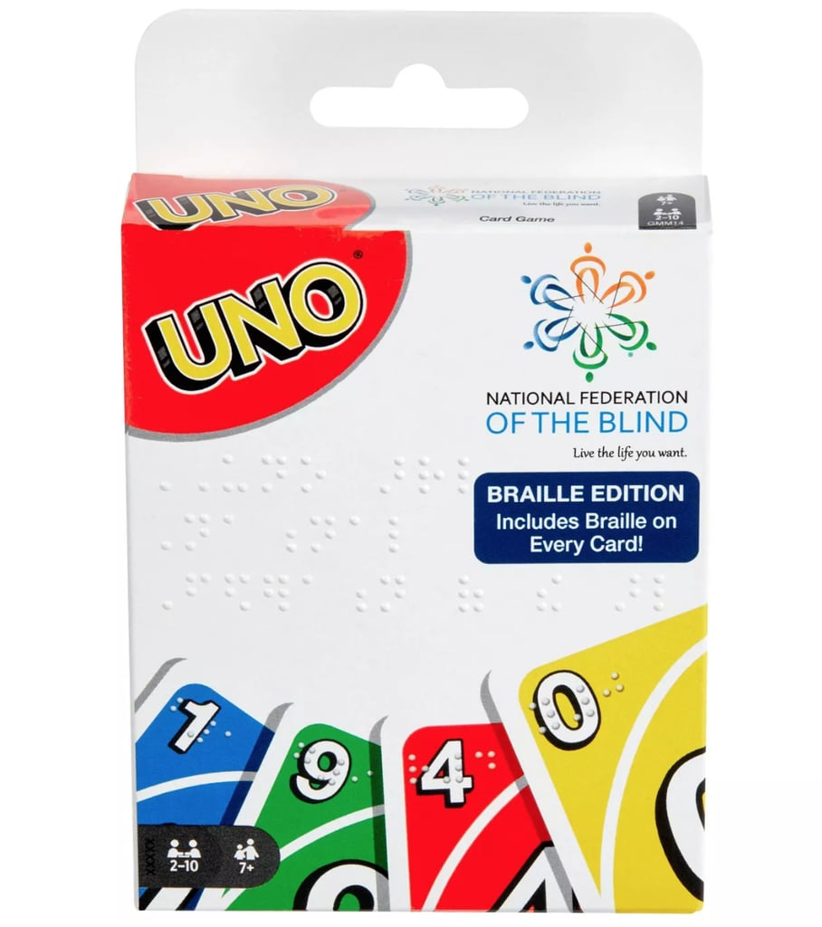 """Uno is one of those games that can be found in almost any classroom, library, junk drawer, or at pretty much every board game night, and now the classic card game can be played by even more people. In partnership with Target and the National Federation of the Blind, Mattel has created the first official Uno deck featuring braille — the tactile writing system for people who are visually impaired — to make the game more accessible to the more than seven million blind and low-vision Americans in the US, according to a press release. """"Uno Braille is doing more than making this beloved game more accessible,"""" said Mark Riccobono, president of the National Federation of the Blind. """"It's also helping promote the importance and normalcy of braille by putting it in places people might not expect, and integrating it into the play of blind children. The fact that a blind person is now able to play a classic game of Uno straight out of the box with both blind and sighted friends or family members is a truly meaningful moment for our community."""" Set up exactly like a traditional Uno game, all of the original cards are included in a pack and now feature braille on the corner of each card to indicate its colour, number, or action. The packageing even features braille on the front and back to make identifying the game in stores easier. Braille readable file instructions for the game can also be found on UnoBraille.com or can be accessed via Amazon Alexa and Google Home. So when's your next board game night? Shop the Uno Braille Card Deck ($10) ahead."""