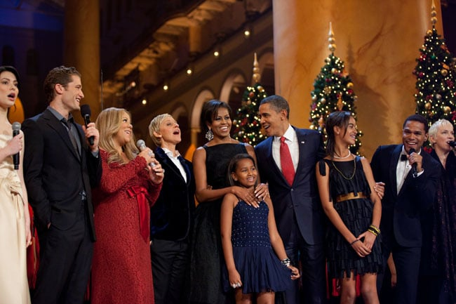 Miranda Cosgrove, Matthew Morrison, Mariah Carey, Ellen DeGeneres, Maxwell, and Annie Lennox at the WH Christmas special. December, 2010.