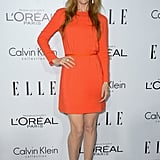 Leslie Mann stood out in orange.