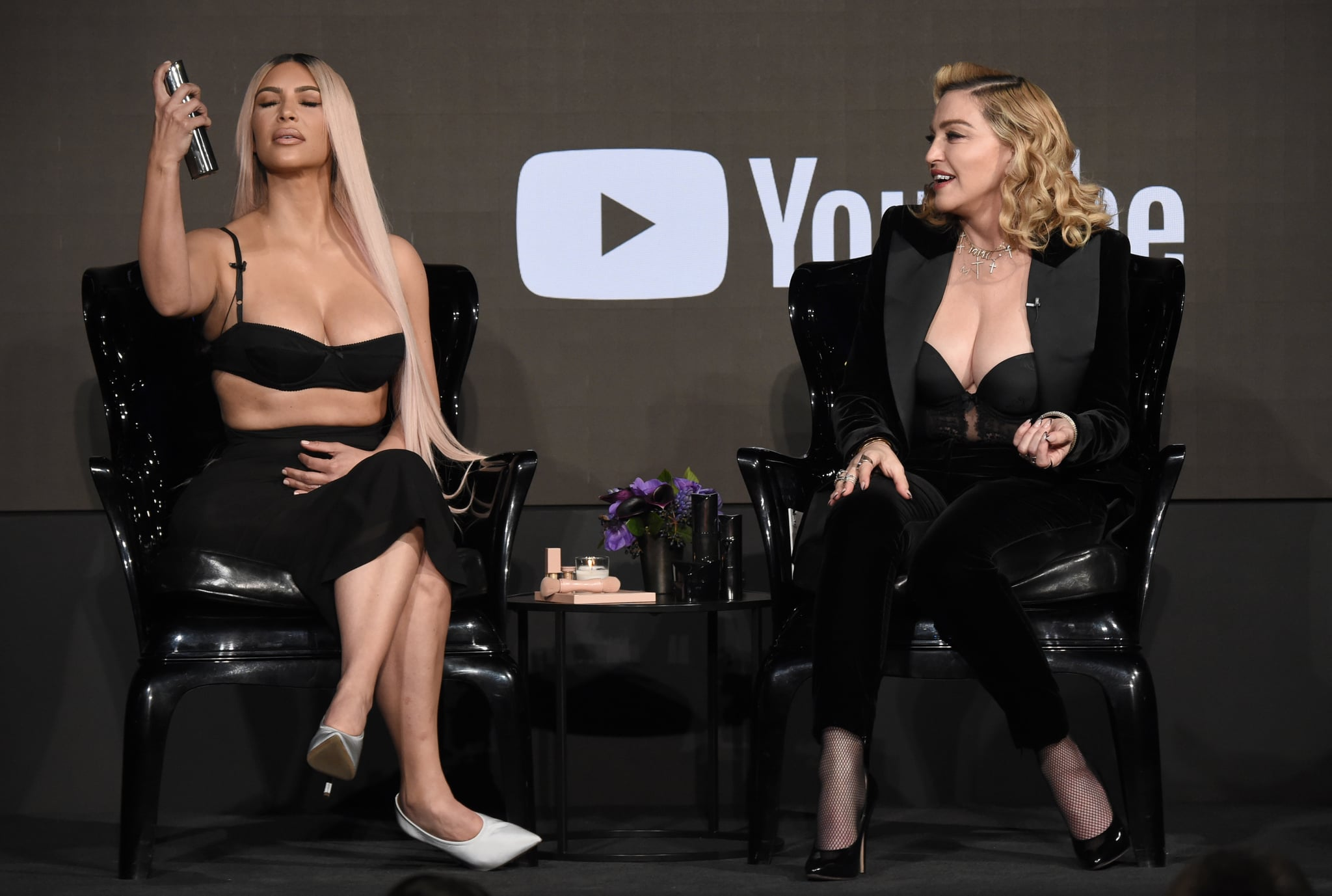 LOS ANGELES, CA - MARCH 06:  Kim Kardashian West and Madonna speak onstage at MDNA SKIN hosts Madonna and Kim Kardashian West for a beauty conversation at YouTube Space LA on March 6, 2018 in Los Angeles, California.  (Photo by Kevin Mazur/Getty Images for Madonna's MDNA SKIN)