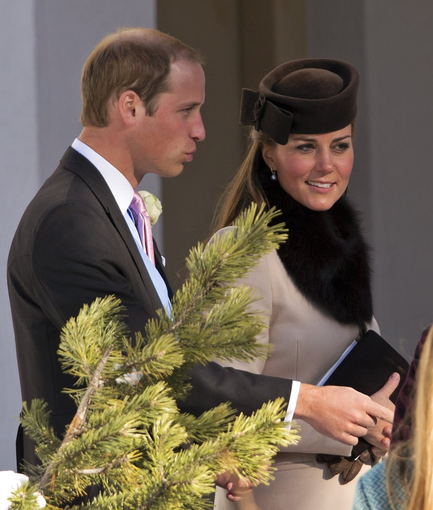 Kate Middleton, Prince William, and Prince Harry attended a friend's March 2013 wedding in Arosa, Switzerland.