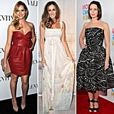 Whether you choose to wear your bow-infused piece as a subtle accent or an integral part of your outfit statement, look to these celebs for styling cues. Australian actress Teresa Palmer toted a nude Valentino bow clutch, Sarah Jessica Parker wore a flirty floor-length frock from Louis Vuitton's Spring 2002 collection, and Emily Blunt added bow-tie Gianvito Rossi heels to her graphic printed ensemble.  From left to right: Teresa Palmer, Sarah Jessica Parker, and Emily Blunt