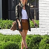 Alessandra Ambrosio Wearing a Brown Miniskirt Spring 2016