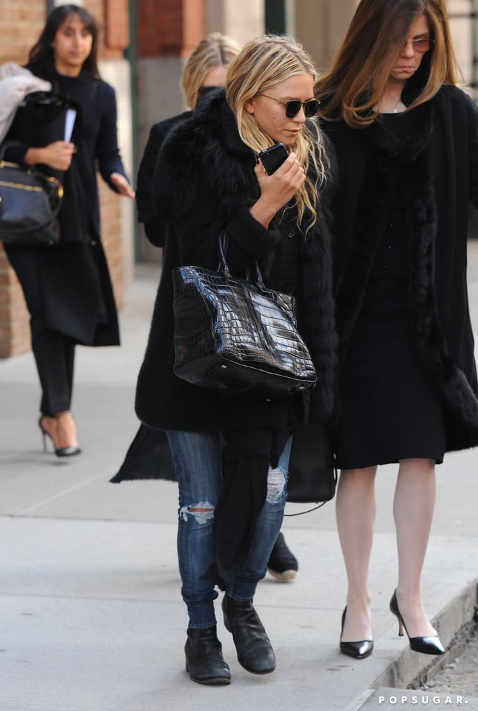 Mary-Kate Olsen and Ashley Olsen left the Greenwich hotel.