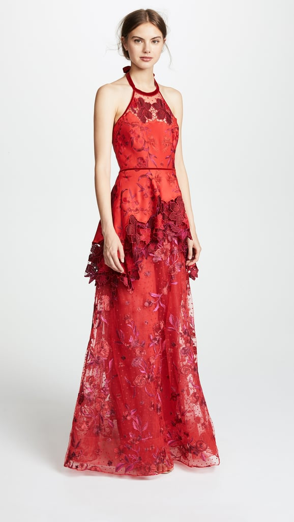 0ef588ab02 Marchesa Notte Halter Embroidered Gown | Fall Wedding Guest Dresses ...