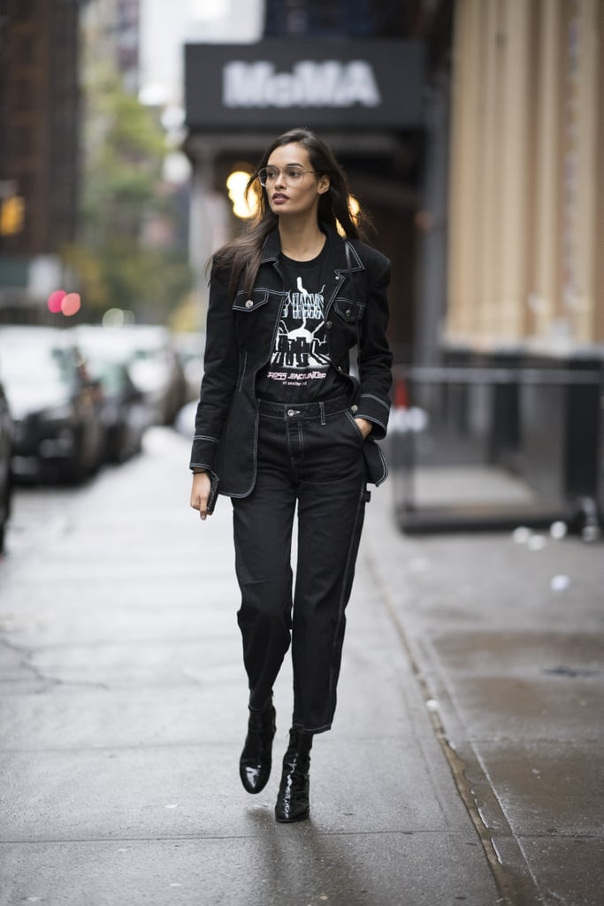 You can easily find a fitted suit that comes in dark-wash denim. You might not wear yours with a graphic tee, but rather a pussy-bow blouse and pumps for a meeting.