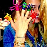 Bar Refaeli had fun with some finger puppets. Source: Instagram user barrefaeli