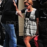 Beyoncé had help out of her car from a male companion.