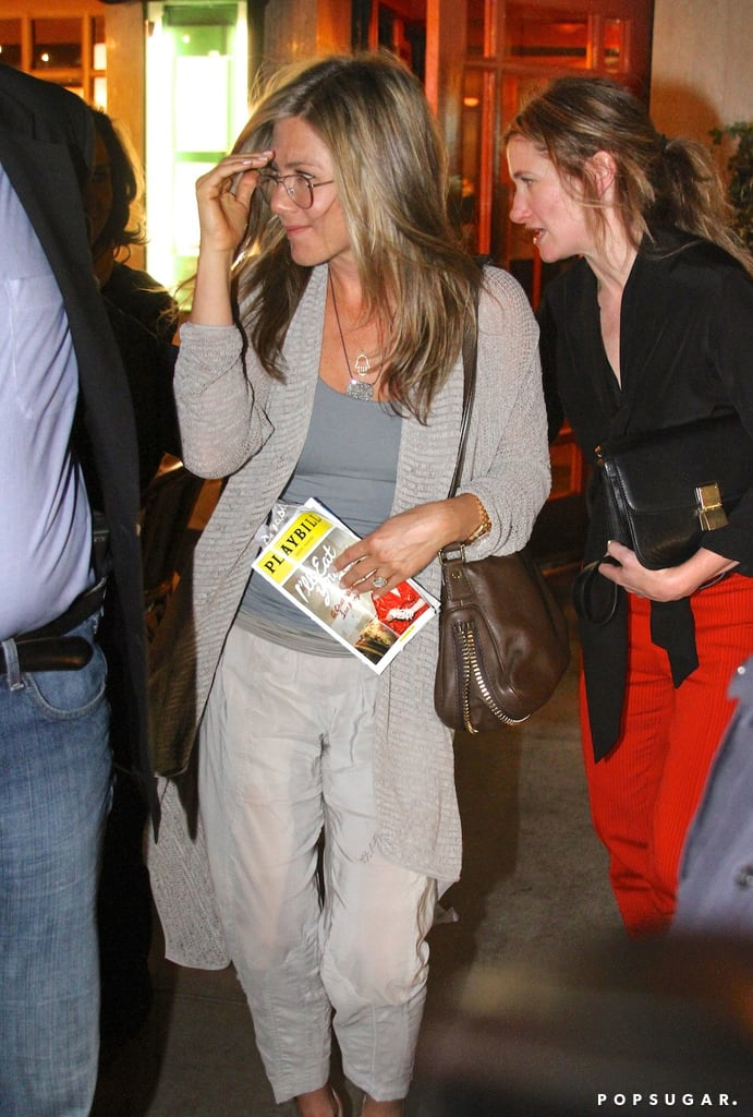 Jennifer Aniston caught a Broadway play with friends.