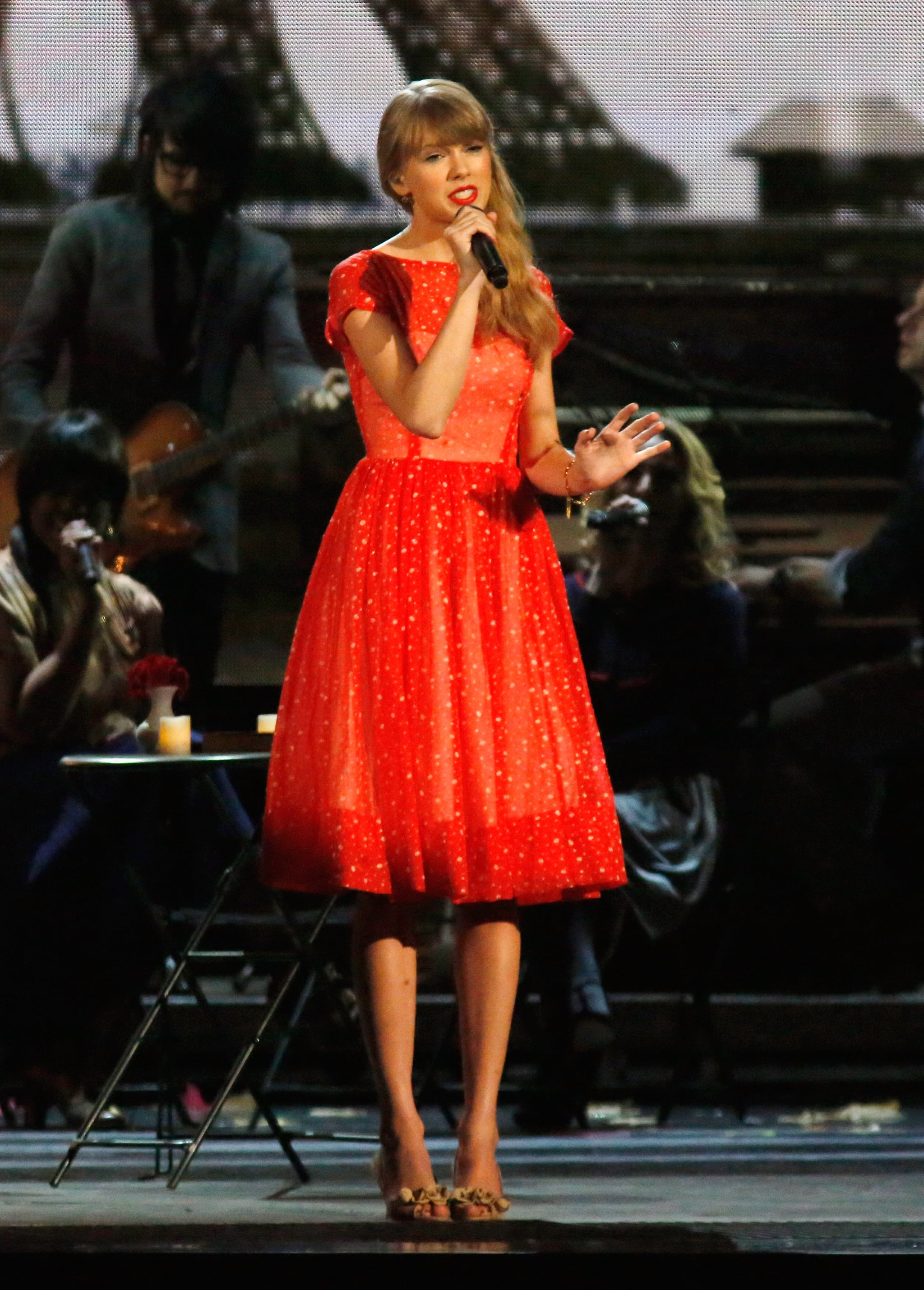 Taylor Swift appeared on stage at the Country Music