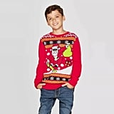 Well Worn Boys' Dino Days Santa Ugly Christmas Sweater