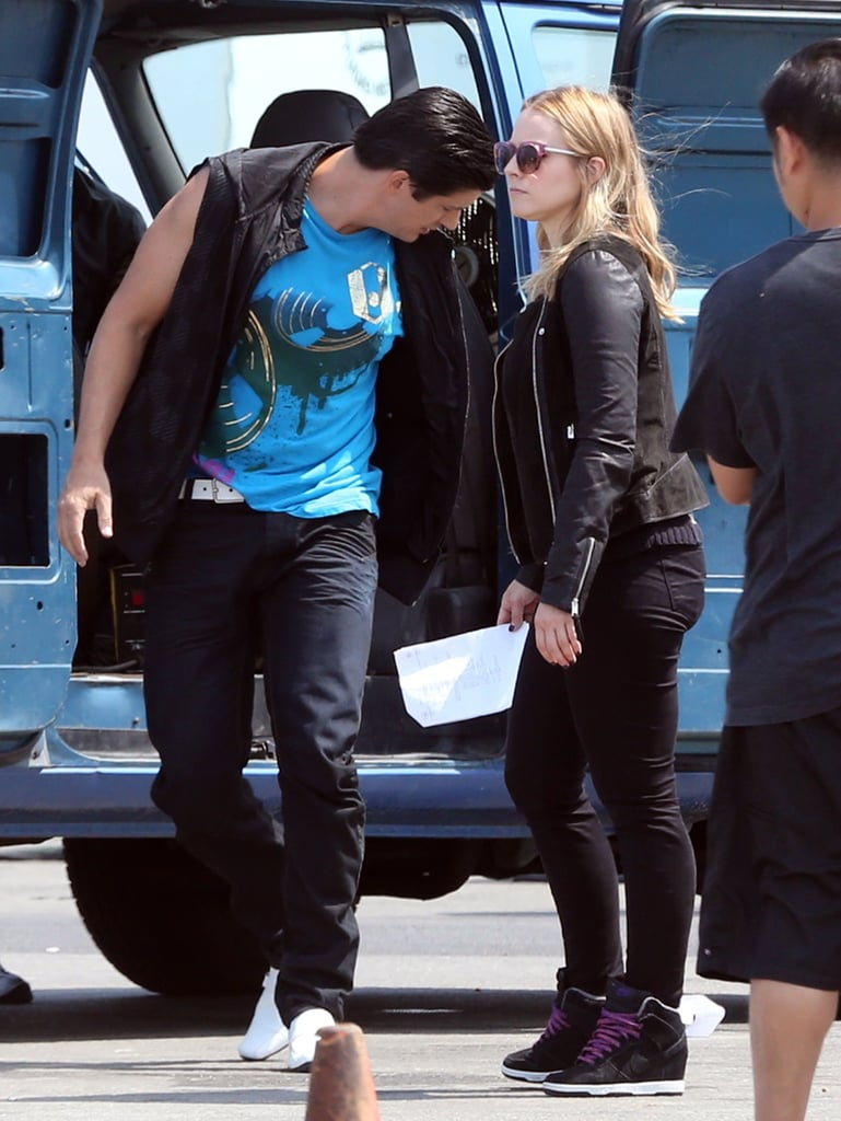 Kristen Bell and Ken Marino on the set of the Veronica Mars movie.