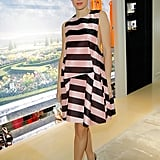 Marisa Tomei looked fresh in her pink-and-black striped Christian Dior Spring 2013 dress at the Dior boutique in Beverly Hills.