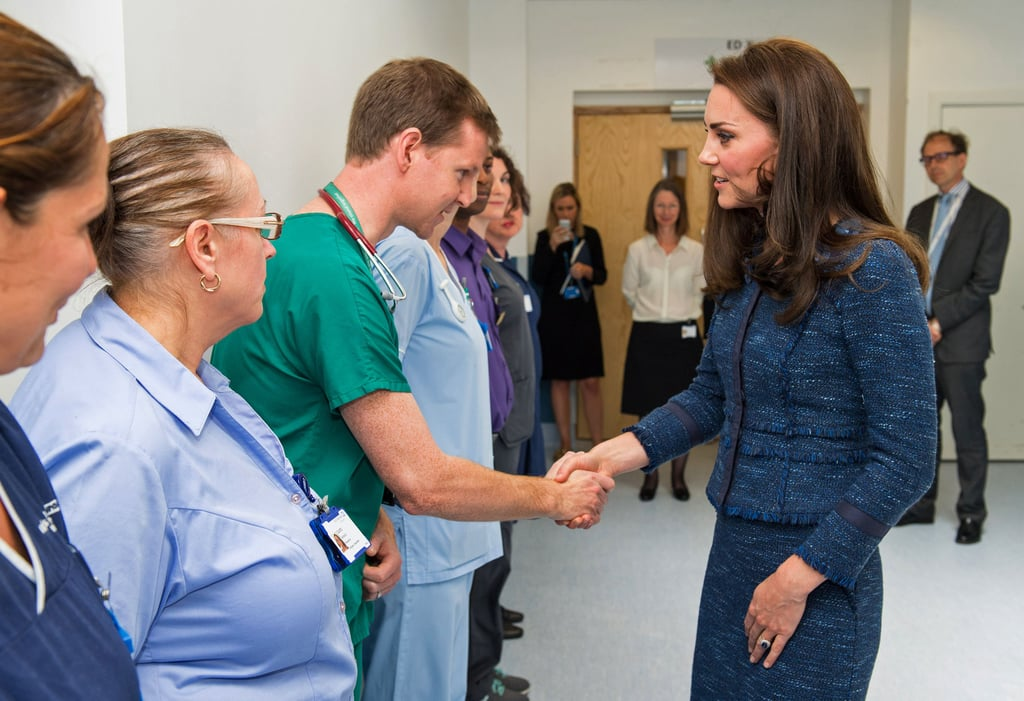 "The Duchess of Cambridge paid a special visit to staff and patients at London's King's College Hospital on Monday afternoon. The duchess kept things low-key in a blue Rebecca Taylor tweed suit and spoke to several of the victims who were affected by the London Bridge terror attacks on June 3. Kate also met with some of the nurses and doctors, who spoke about their experiences during the evening of the attacks and thanked them for all their hard work. ""I suppose at the time you didn't know how big or what the extent of the incident was,"" she told the hospital staff. ""You just got your heads down and got on with it. The response was amazing. I presume you are trained to cope with this, but hope this kind of incident never happens. What you do is remarkable."" Kate's visit comes a little over a week after her brother-in-law, Prince Harry, paid tribute to the victims of the horrifying attack that left seven people dead and 30 injured during his two-day tour of Singapore. ""Let peace and harmony prevail in communities all over the world,"" he said while leading a prayer with Islamic scholar Muhammad Rafiuddin Ismail."
