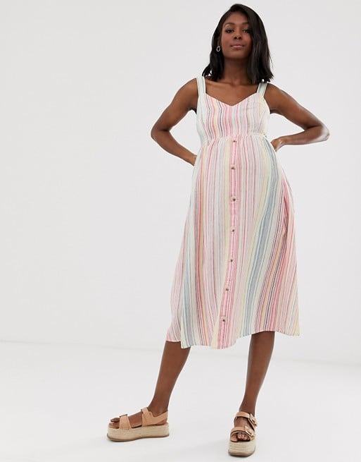 New Look Maternity stripe linen midi dress in white pattern | ASOS