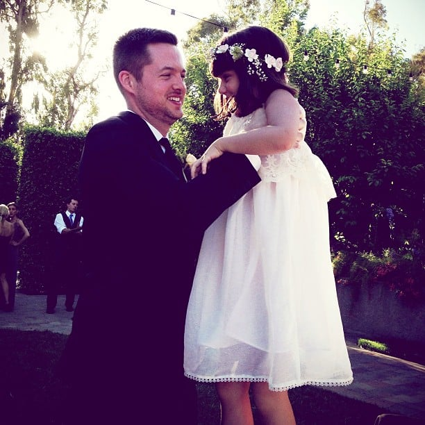 Damien Fahey played with his flower girl. Source: Instagram user mpekurovskaya