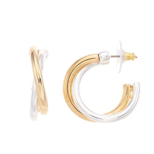 Napier Two Tone Crisscross Hoop Earrings