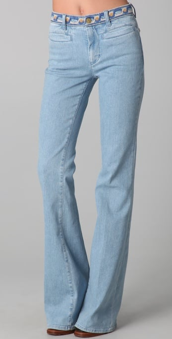 We'd pair these light denim flares — check out the pretty waistband detailing — with a breezy sheer tank on hotter days.  Mih Marrakesh Kick Flare Jeans ($103, originally $205)