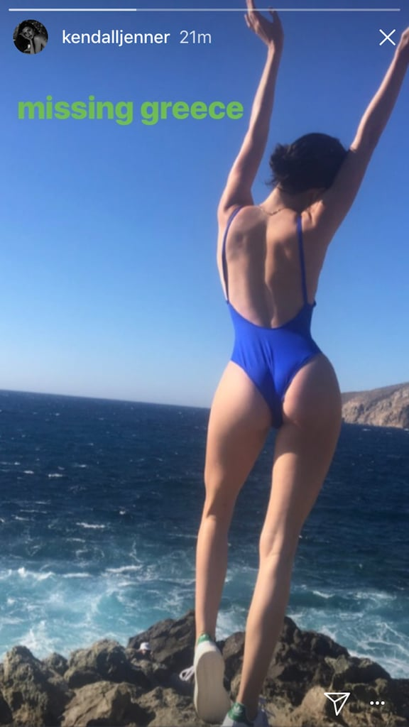Kendall Jenner Blue One Piece Swimsuit