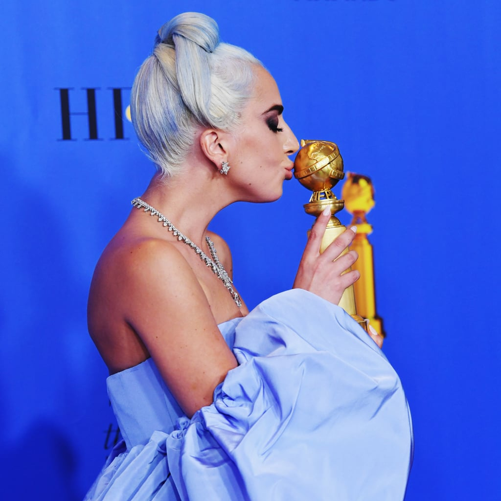 """Lady Gaga was absolutely elated over """"Shallow"""" — her and Bradley Cooper's A Star Is Born song — winning best original song at the 2019 show."""